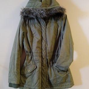 Mossimo Olive Fur Hood Utility Jacket Sz M